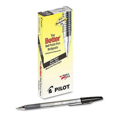 Pilot Better Ball Point Stick Pen Black Ink .7mm Dozen 35011