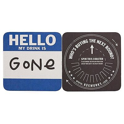"KegWorks ""Hello"" Drink Coasters - Set of 6 - Fun Home Bar and Pub Beer Supplies"