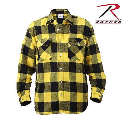 Buffalo Plaid Flannel - Rothco 4649 Extra Heavyweight Buffalo Plaid Flannel Shirts - Yellow / Black