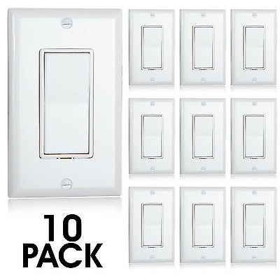 Maxxima 3 Way Decorative Wall Switch White, Wall Plates Included (Pack of 10) 3 Way Decorative Switch