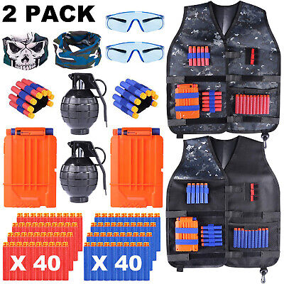 Kids Tactical Vest Kit for Nerf Guns Wrist Band, Protective Glasses and Grenade