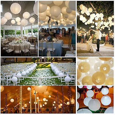 10er Weiße Papier Laterne Lampion Rund Lampenschirm Hochtzeit Party Dekoration ()