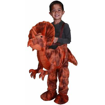 DINO RIDER Costume Toddler 2T Child Brown Orange Plush Triceratops Dinosaur Play - Dino Rider Costume