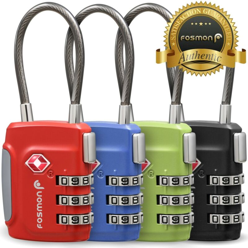 4 TSA Approve 3 Digit Combination Travel Suitcase Luggage Bag Lock Padlock Reset