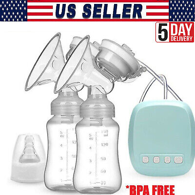 Electric Double Breast Pump Silent Painless Breast Pump USB Recharge with bottle