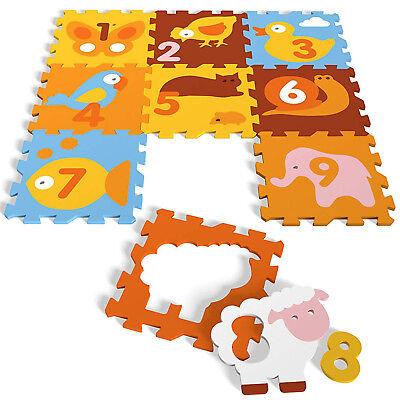 Puzzlematte Spielmatte Fußboden EVA Schaum Spielboden Animals Numbers