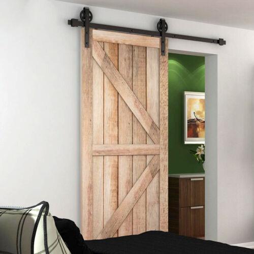 Steel 8FT Sliding Barn Wood Door Hardware Closet Antique Country Track Roller