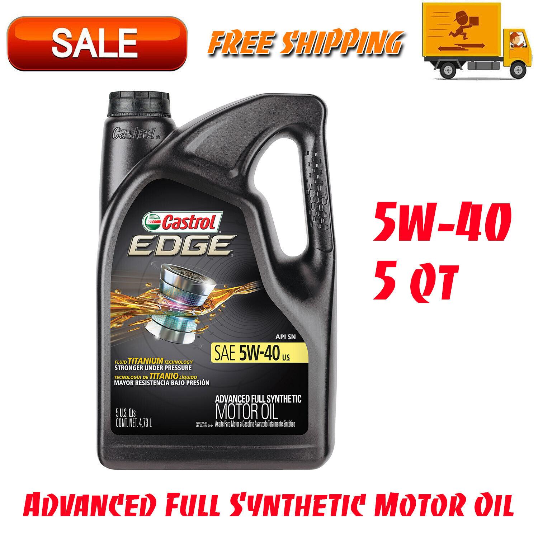 Castrol EDGE 5W-40 Advanced Full Synthetic Motor Oil, 5 QT, Automotive Supplies