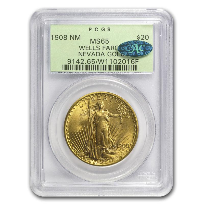 1908 $20 St. Gaudens Gold No Motto Ms-65 Pcgs (cac, Wells Fargo) - Sku#84737