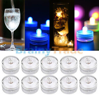 10pcs Submersible LED Lights Battery Powered Bright Tea Light Vase Party Decor - Submersible Led
