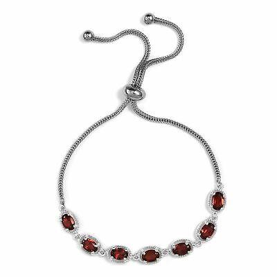 Garnet 925 Sterling Silver 7 Stone Strand Bead Bolo Bracelet for Women Ct 3.4