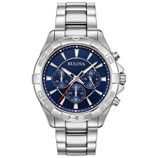 Bulova Men's Quartz Chronograph Blue Dial Silver-Tone Sport 43mm Watch 96A215