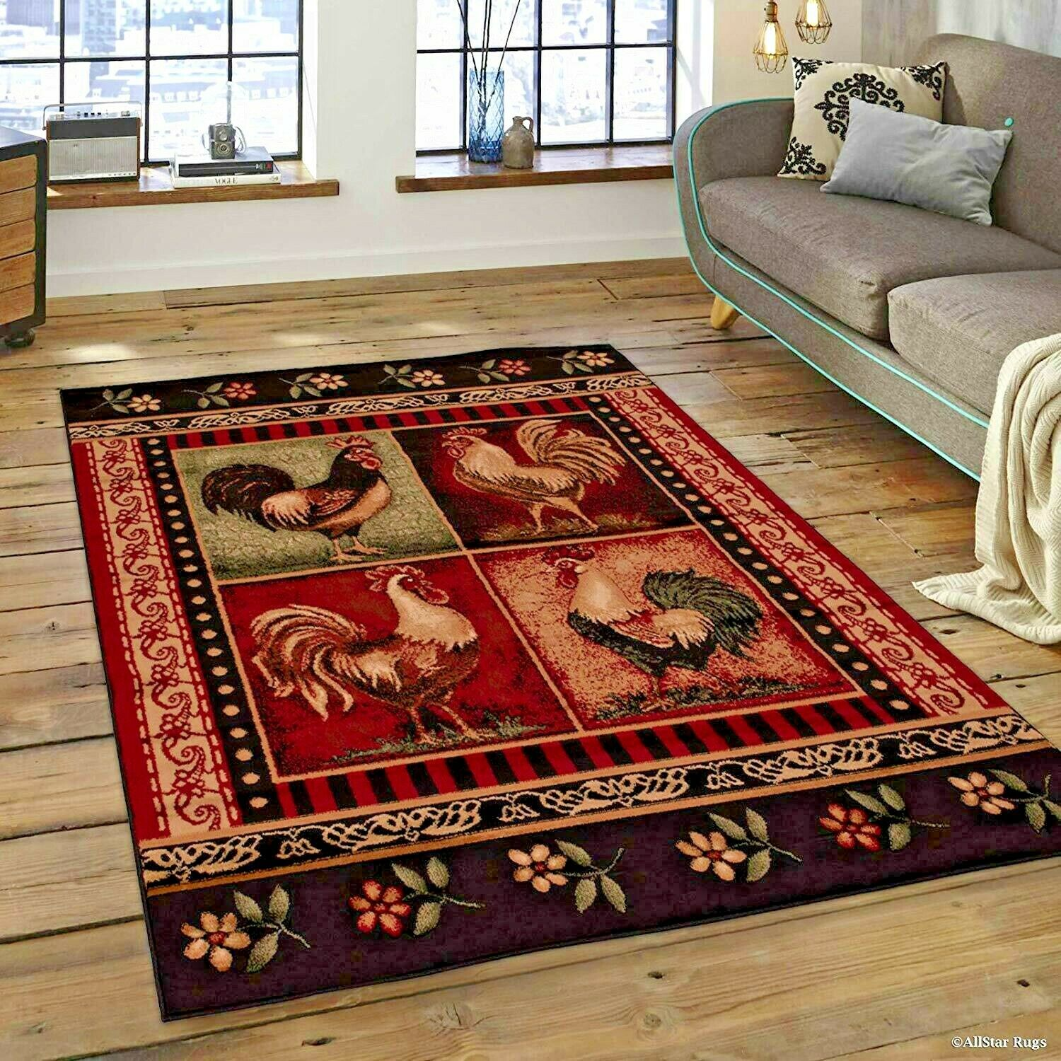 Rugs Area Carpets 8x10 Rug Modern Rooster Kitchen Large Floor 5x7 Ebay