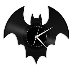 Bat Silhouette Vinyl Wall Clock Record Famous Animals Home Kids Room Decoration