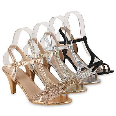 e01d8bf72621c9 Damen Sandaletten Riemchensandaletten Party Schuhe Metallic 830129 Schuhe