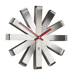 Umbra RIBBON Asterisk Modern Stainless Steel 12 Quartz AA Battery Wall Clock