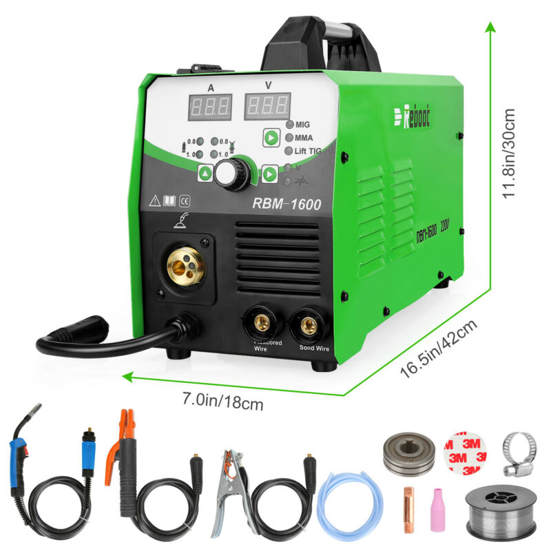 MIG Welder 160A IGBT Inverter Flux Core Wire Gasless/Gas 4 in 1 Welding Machine