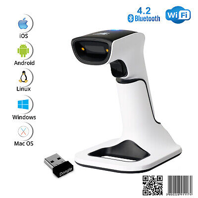1d2d Wireless Bluetooth Barcode Scanner 3-in-1 With Stand Usb Qr Code Reader