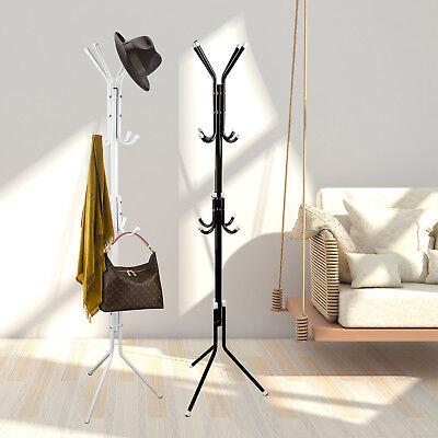 12 Hook Coat Hanger Stand 3 Tier Hat Bag Clothes Metal Storage Tree Style Rack #](Bag Rack)