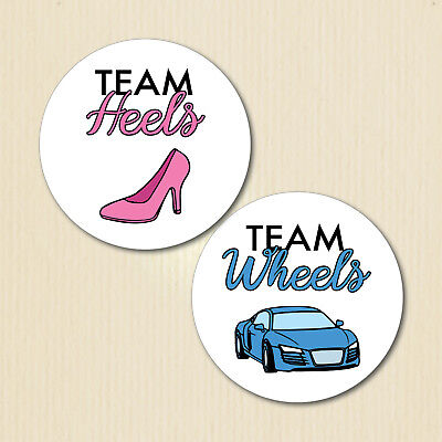 Team Heels, Team Wheels Gender Reveal Party Stickers, Baby Shower, Team - Gender Reveal Stickers
