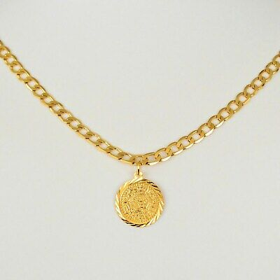 Coin Necklace Pendant Middle Eastern Arabic Curb Chain 24k Gold Plated - 22 Inch 24k Gold Plated Coin
