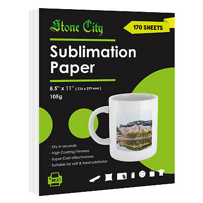 170 Sheets Stone City Sublimation Paper 8.5x11 Inkjet Heat Transfer Mugs T-shirt