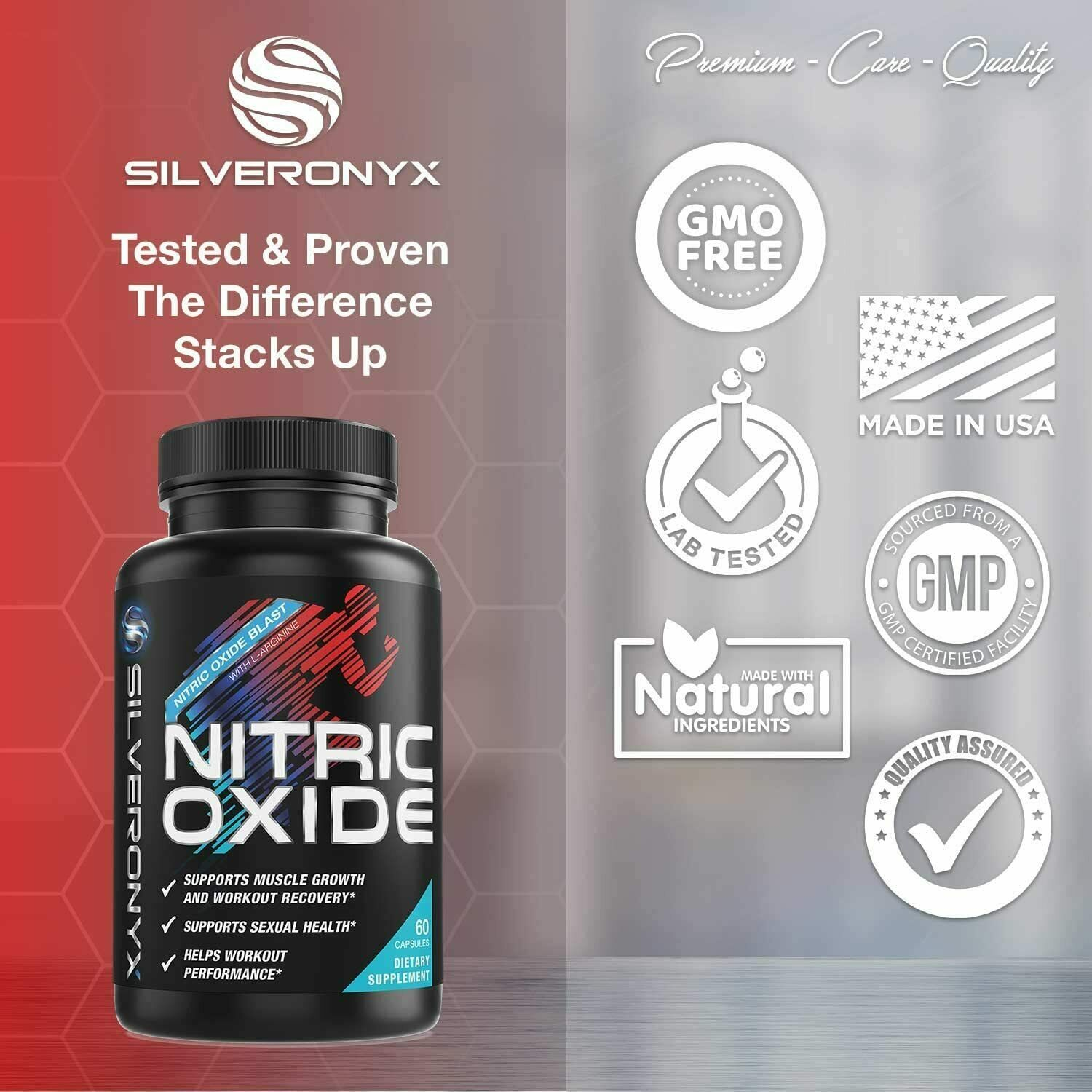 Nitric Oxide Booster Supplement w/L-Arginine 1300mg Premium Workout Muscle Pump 2