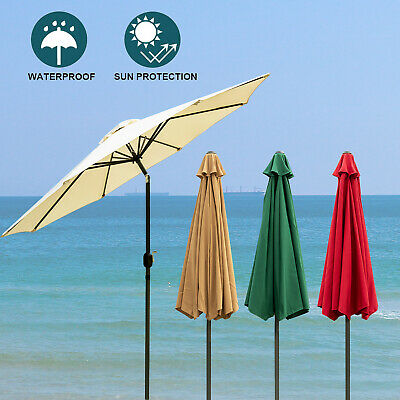 9FT Patio Umbrella Outdoor Parasol Market w/Tilt Crank Beach Yard Sunshade Bar - Patio Beach Market Umbrella