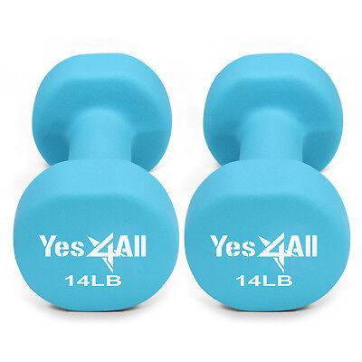 Yes4All 14 lb Dumbbell Weight Set with Non-Slip Grip - Neoprene Dumbbell Pair²2