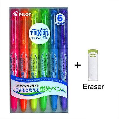 Erasable Highlighter Pen With Eraser 6 Pilot Frixion Light Fluorescent Ink Color