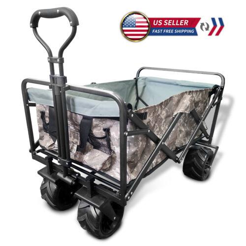 Collapsible Heavy Duty Folding Wagon Cart Outdoor Utility Garden Trolley Buggy