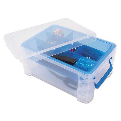 Advantus Super Stacker Divided Storage Box Clear Wblue Trayhandles 10.3 X 14