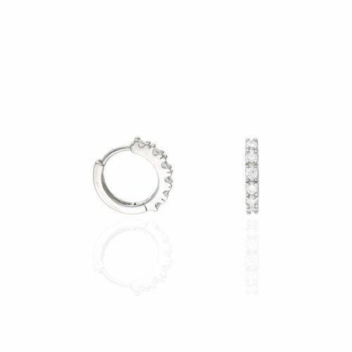 White Gold Plated 925 Sterling Silver Created Diamond 15mm Huggie Hoop Earrings