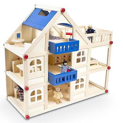 Puppenhaus mit Zubehör Puppenstube Rollenspiel Holzspielzeug + 16 Möbel 4