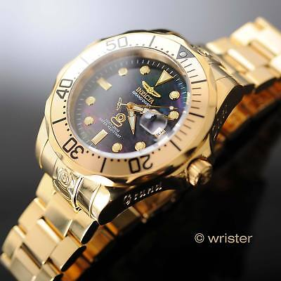 Automatic Invicta Mens Pro Grand Diver Black Mop Dial 18K Gold Plated  595 Watch
