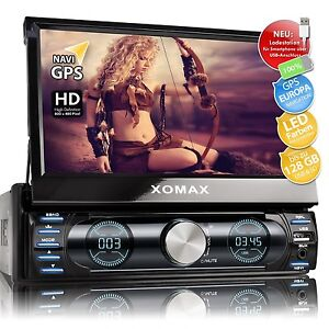 AUTORADIO MIT NAVI GPS NAVIGATION TOUCHSCREEN BLUETOOTH USB SD MP3 AUX RDS 1DIN