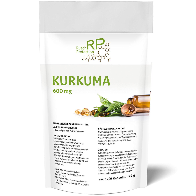 Kurkuma 200 - 600 Kapseln mit Piperin, Curcuma Superfood - Curcumin Hochdosiert