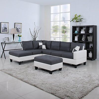 Classic Two Tone Large Linen Fabric and Bonded Leather Living Room Sectional...