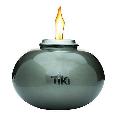 """TIKI Brand 6"""" Clean Burn Ceramic Pearl of the Sea Table Torch Firepiece, Silver"""