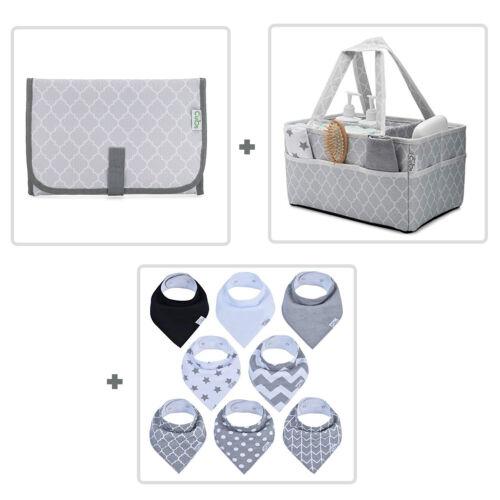 Baby Diaper Caddy, Bandana Bibs and Changing Pad BUNDLE (3 Items)