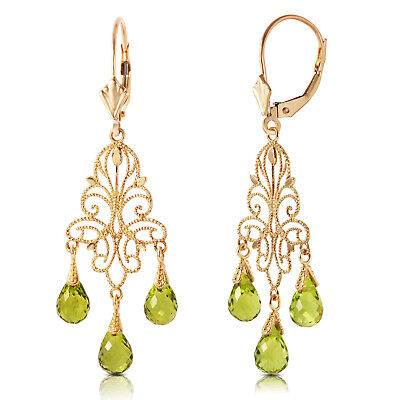 14K. GOLD CHANDELIERS EARRING WITH NATURAL PERIDOTS 14k Gold Chandeliers Earring
