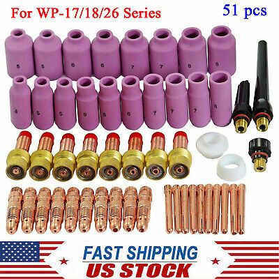 51 Pcs Tig Welding Torch Ceramic Cup Gas Lens Collet Kit For Wp-171826 Series