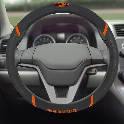 State Steering Wheel Cover (Oklahoma State Cowboys Premium Embroidered Black Steering Wheel Cover)