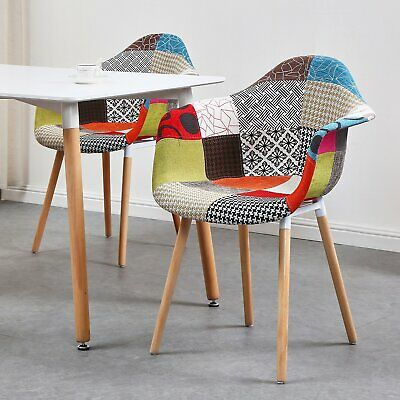 2xSilla Comedor Patas de Madera Diseño Nórdico Estilo Retro Patchwork Multicolor
