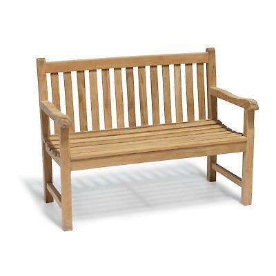 York TEAK Garden Bench 1.2m - 2 Seater - FULLY ASSEMBLED - Patio Outdoor Wooden