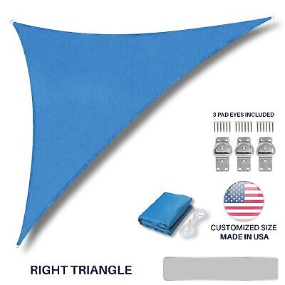 Customize Size Blue Right Triangle Sun Shade Sail Outdoor Canopy Awning Pool Top ()