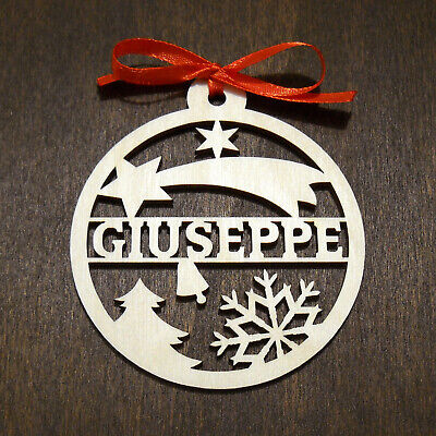 Nome personalizzato taglio su palla legno 8 cm addobbi natale decorazioni albero