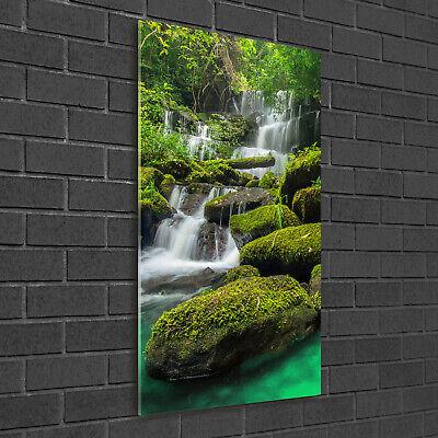 Wandbild Kunst-Druck auf Hart-Glas hochkant 50x100 Wasserfall