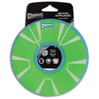 Chuckit ZIPFLIGHT Dog Fetch Toy Max Glow In The Dark Frisbee Ring Small