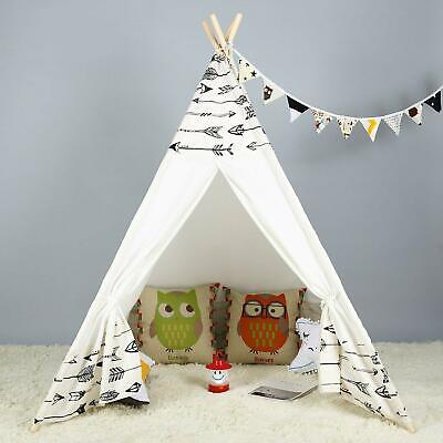 Large Cotton Canvas Kids Teepee Tent Childrens Wigwam Indoor Outdoor Play House Kids Indoor Play Tent
